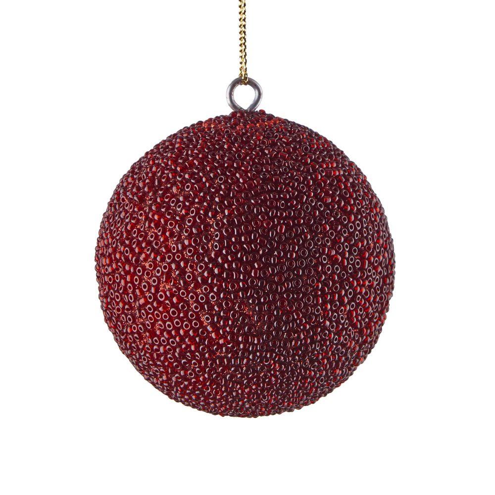 HANG ON Vánoční koule s korálky 8 cm - bordó