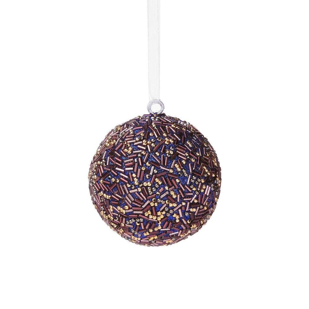 HANG ON Vánoční koule s perlami 8 cm - fialová