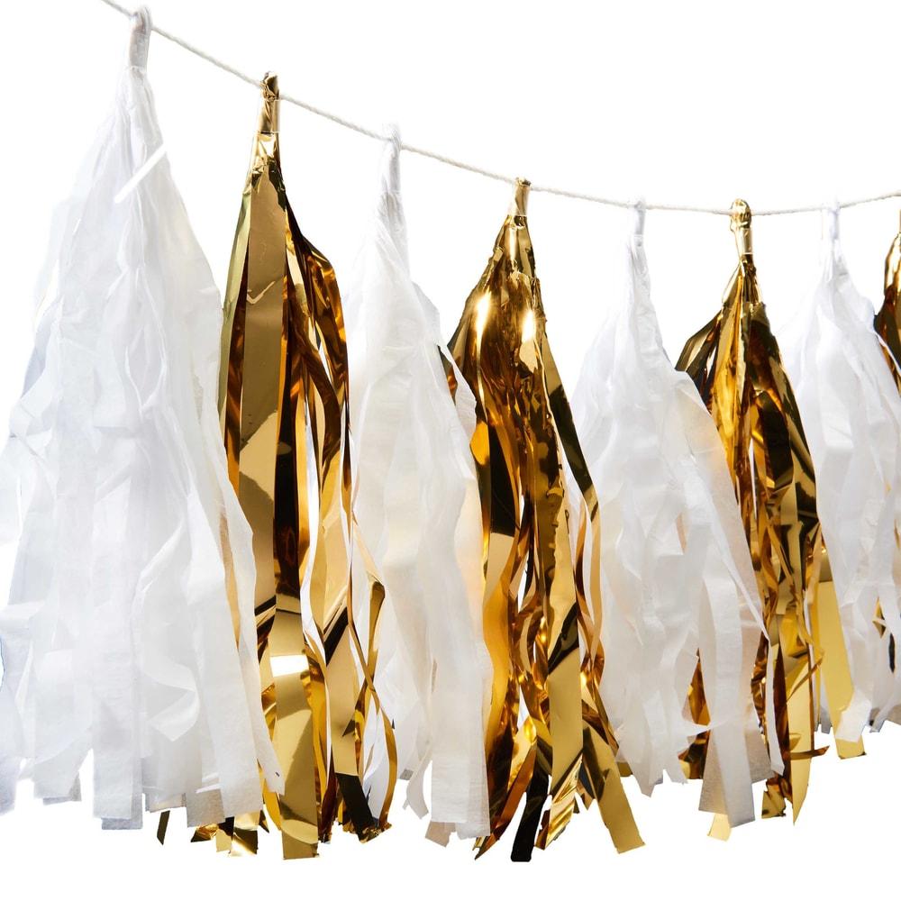 Produktové foto BANNER DAY Girlanda střapec - zlatá/bílá