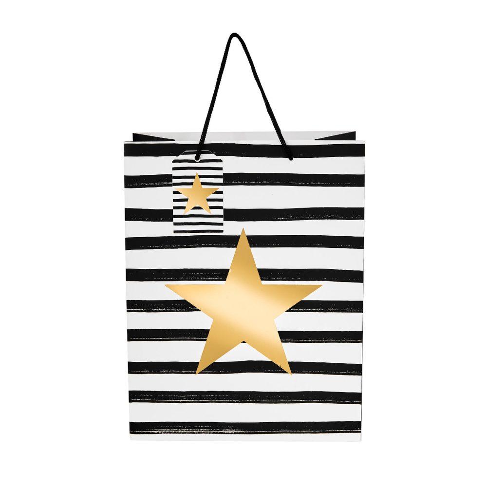 X-MAS Dárkové tašky hvězda 13,5 cm set 4 ks - černá/bílá