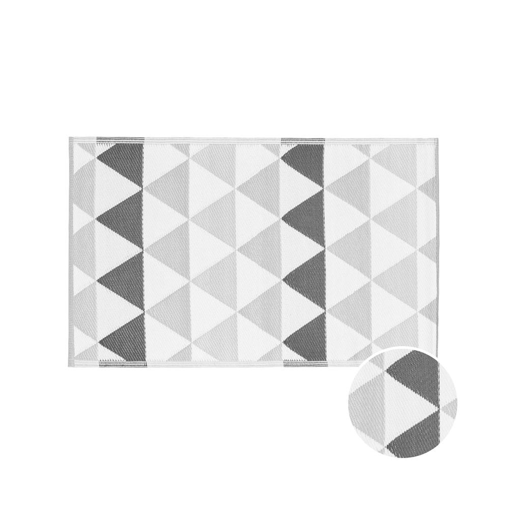COLOUR CLASH Vnitřní a venkovní koberec trojúhelníky 150 x 90 cm - tm. šedá