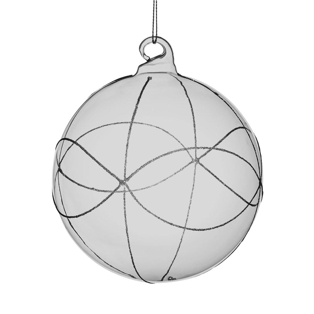 HANG ON Vánoční koule se třpytkami 8 cm - šedá