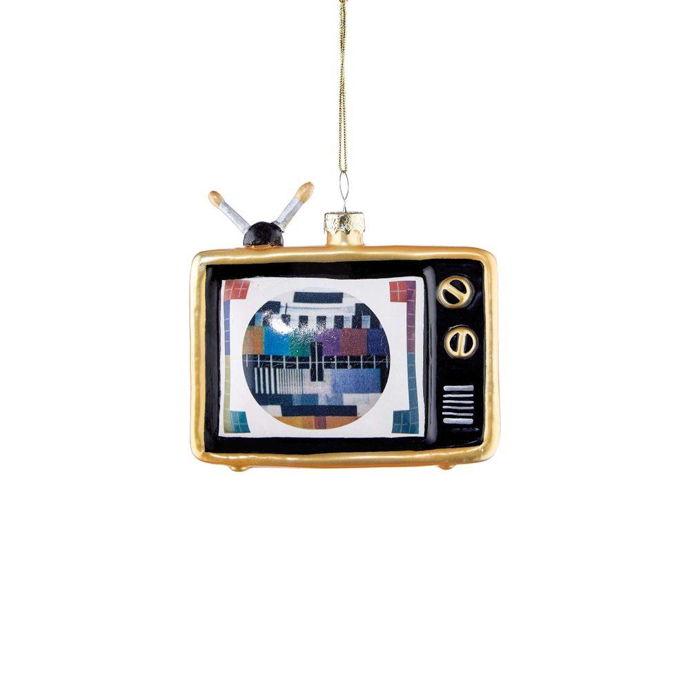 HANG ON Skleněná ozdoba televize 9,5 cm