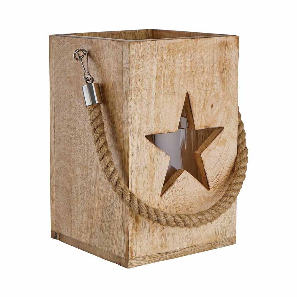 FOREST Dřevěná lucerna hvězda 24 cm