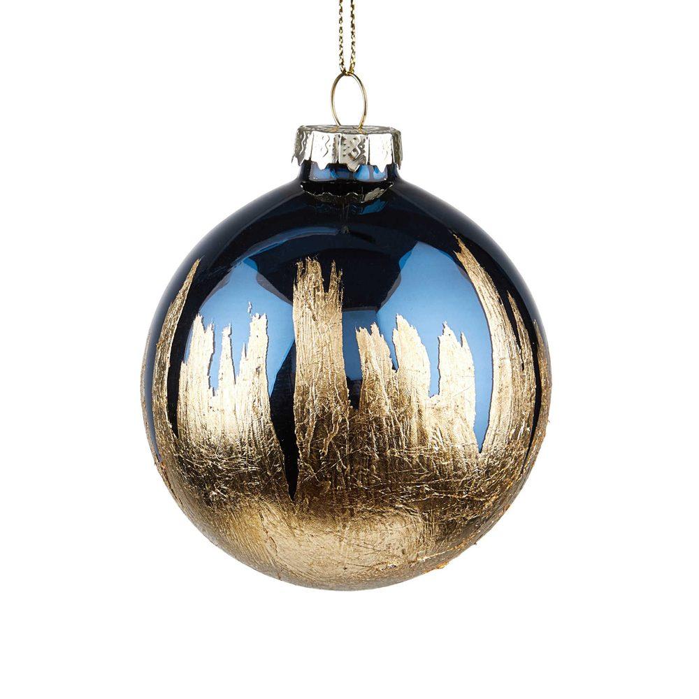 HANG ON Vánoční koule 8 cm - tm. modrá/zlatá