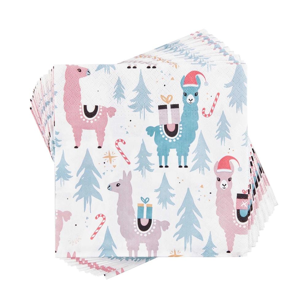 APRÉS Papírové ubrousky vánoční lama 20 ks