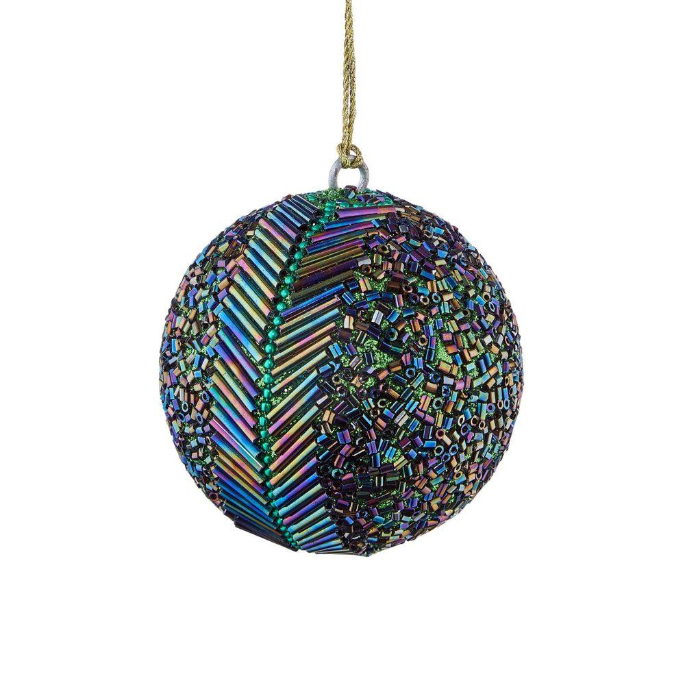 HANG ON Vánoční koule s perlami paví dekor 7 cm