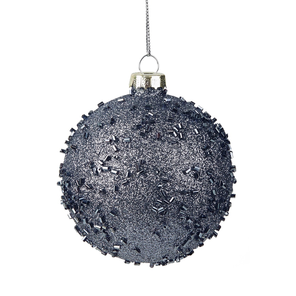 HANG ON Vánoční koule se třpytkami 8 cm - modrá