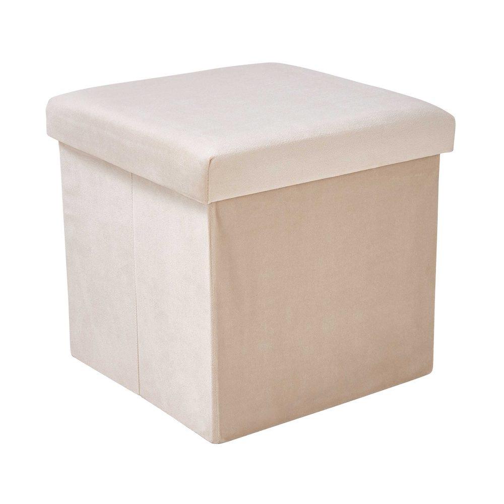 BOXSPRING Skládací sametová stolička s úložným prostorem - krémová