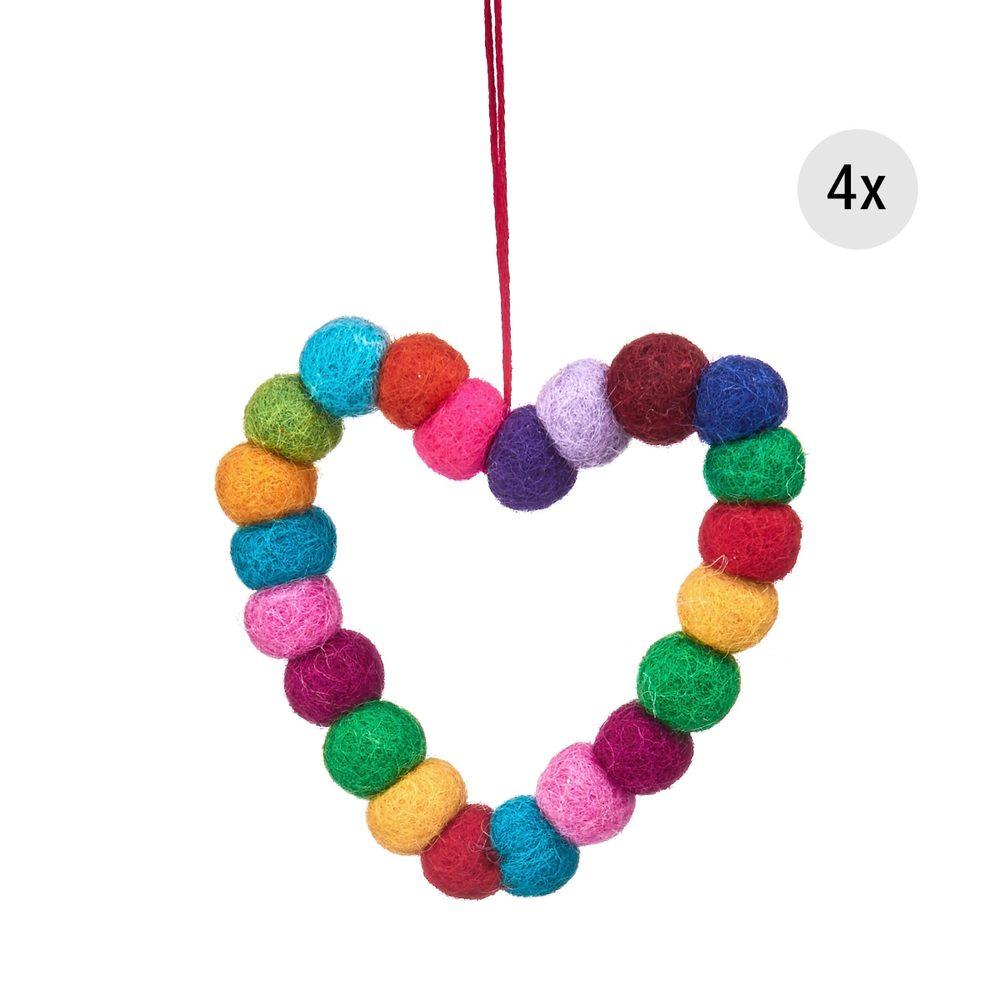 Fotografie HANG ON Vánoční ozdoby srdce z filcových kuliček 8 cm set 4 ks