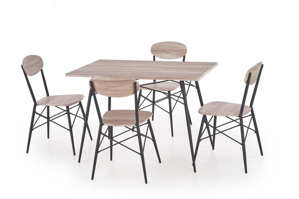 Halmar Jídelní sestava Kabir, čtvercový stůl + 4 židle, dub san remo/černý