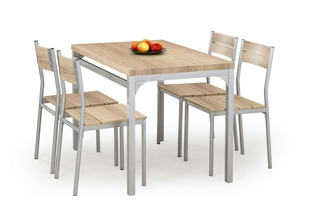 Halmar Jídelní sestava Malcolm + 4 židle, dub sonoma
