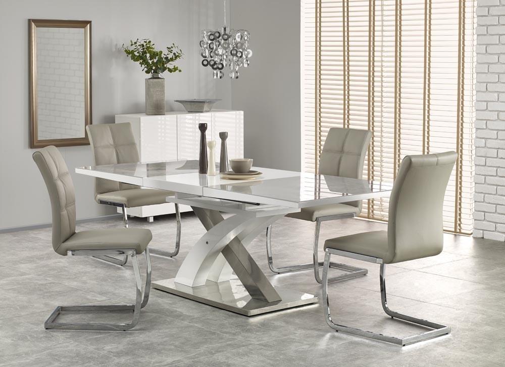 Levně Halmar Jídelní stůl SANDOR 2, šedé sklo/bílý