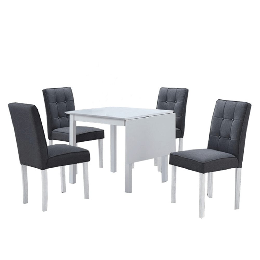 Tempo Kondela Jídelní set Bjork New, rozkládací stůl, bílá / šedá, 1+4