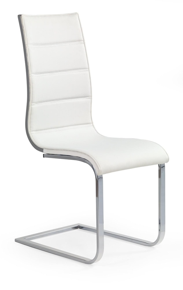 Halmar Jídelní židle K104, bílá/šedá, eko kůže