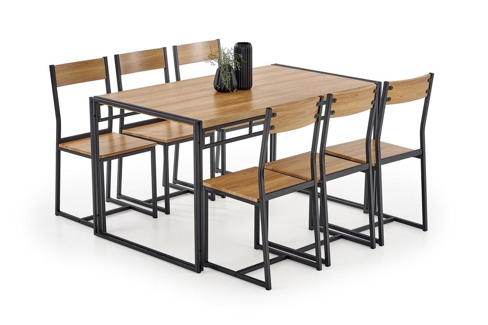 Halmar Jídelní sestava Bolivar, stůl + 6 židlí, dub zlatý/černý