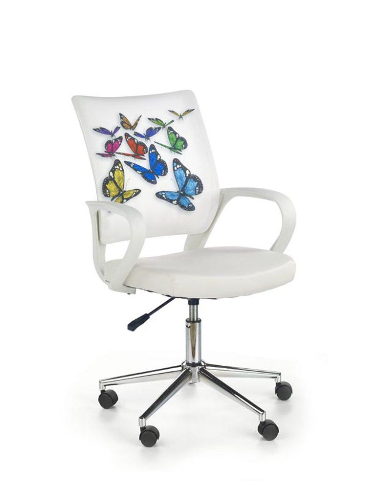 Halmar Dětská síťovaná židle Ibis Butterfly, bílá s motýlky