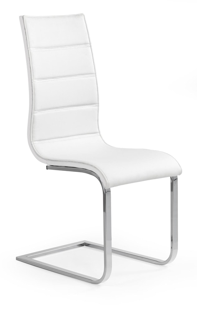 Halmar Jídelní židle K104, bílá/bílá, eko kůže