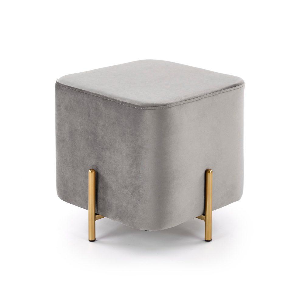 Halmar Sametový taburet Corno, šedý