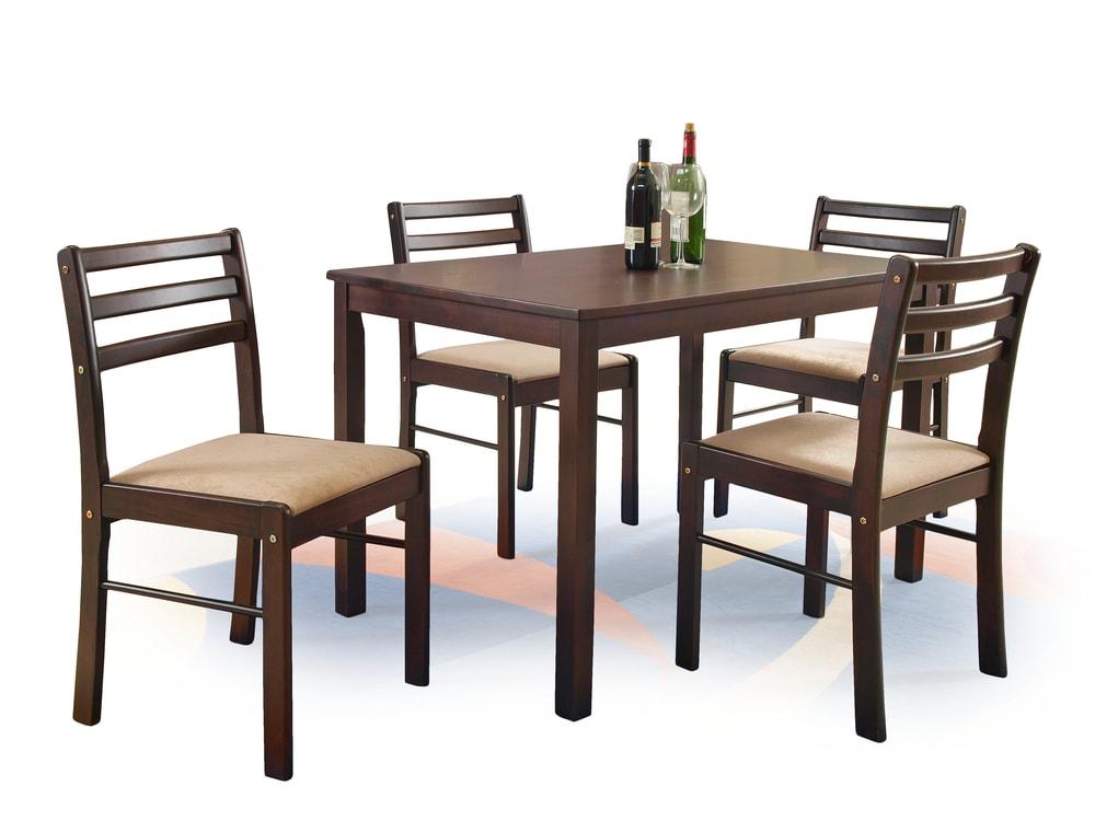HM MÖBEL Jídelní sestava NEW STARTER, stůl + 4 židle, espresso