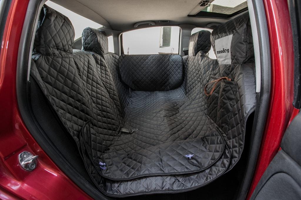 Reedog ochranný potah do auta pro psa na zip + boky - černý - L