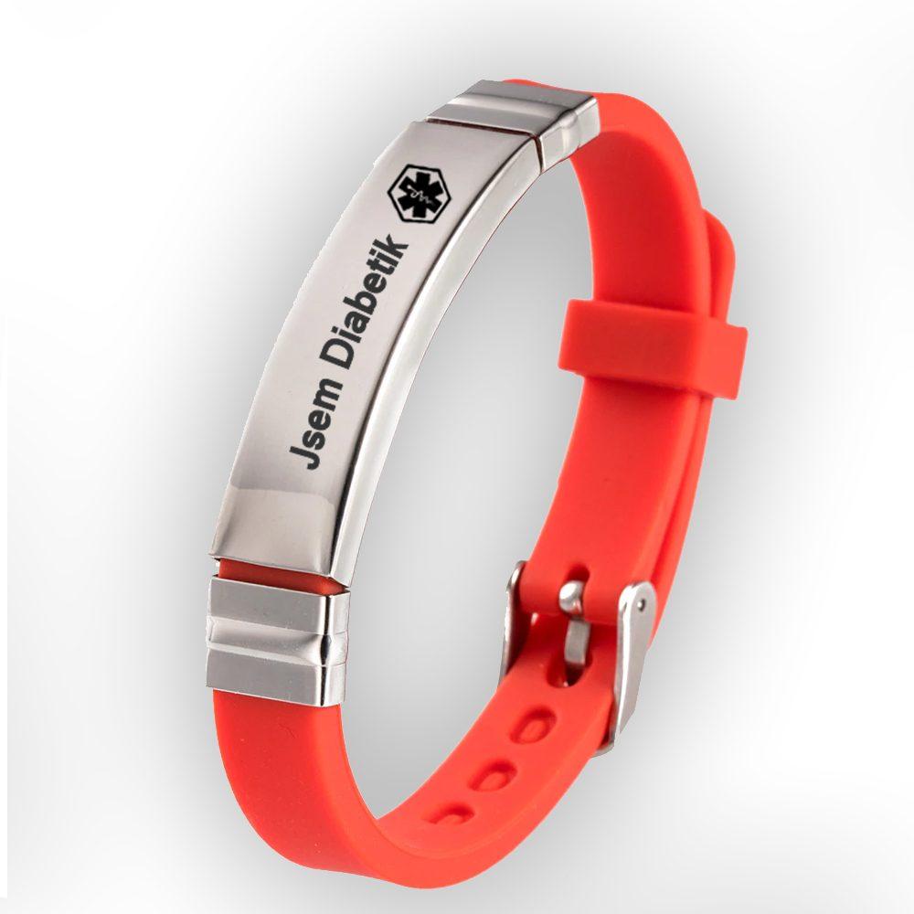 Levně Náramek silikonový zapínací - Jsem Diabetik - barva červená