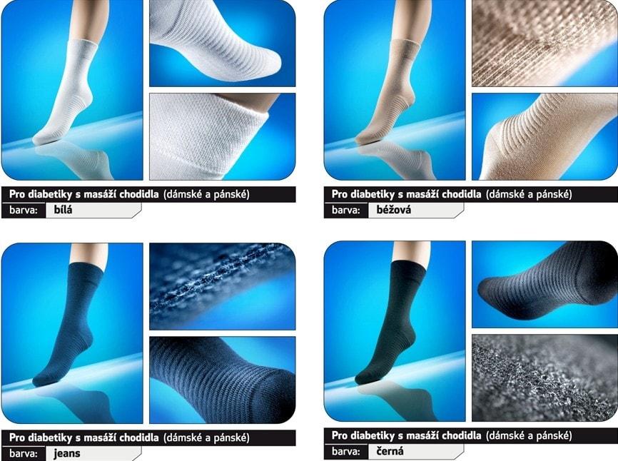 Levně Ponožky pro diabetiky s masážním chodidlem Loana