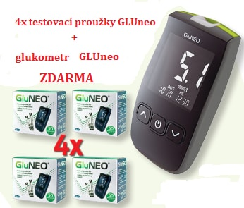Testovací proužky GluNeo 4ks + glukometr zdarma