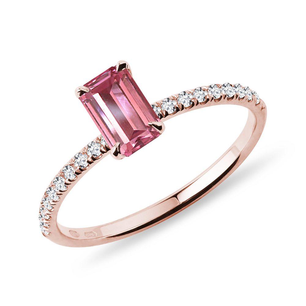 Prsten s turmalínem a diamanty v růžovém zlatě KLENOTA