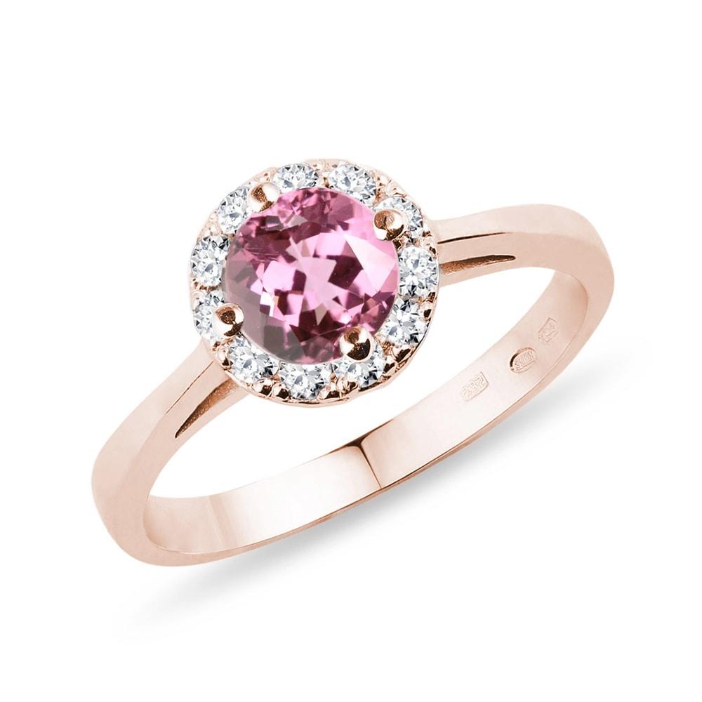 Prsten z růžového zlata s turmalínem a diamanty KLENOTA