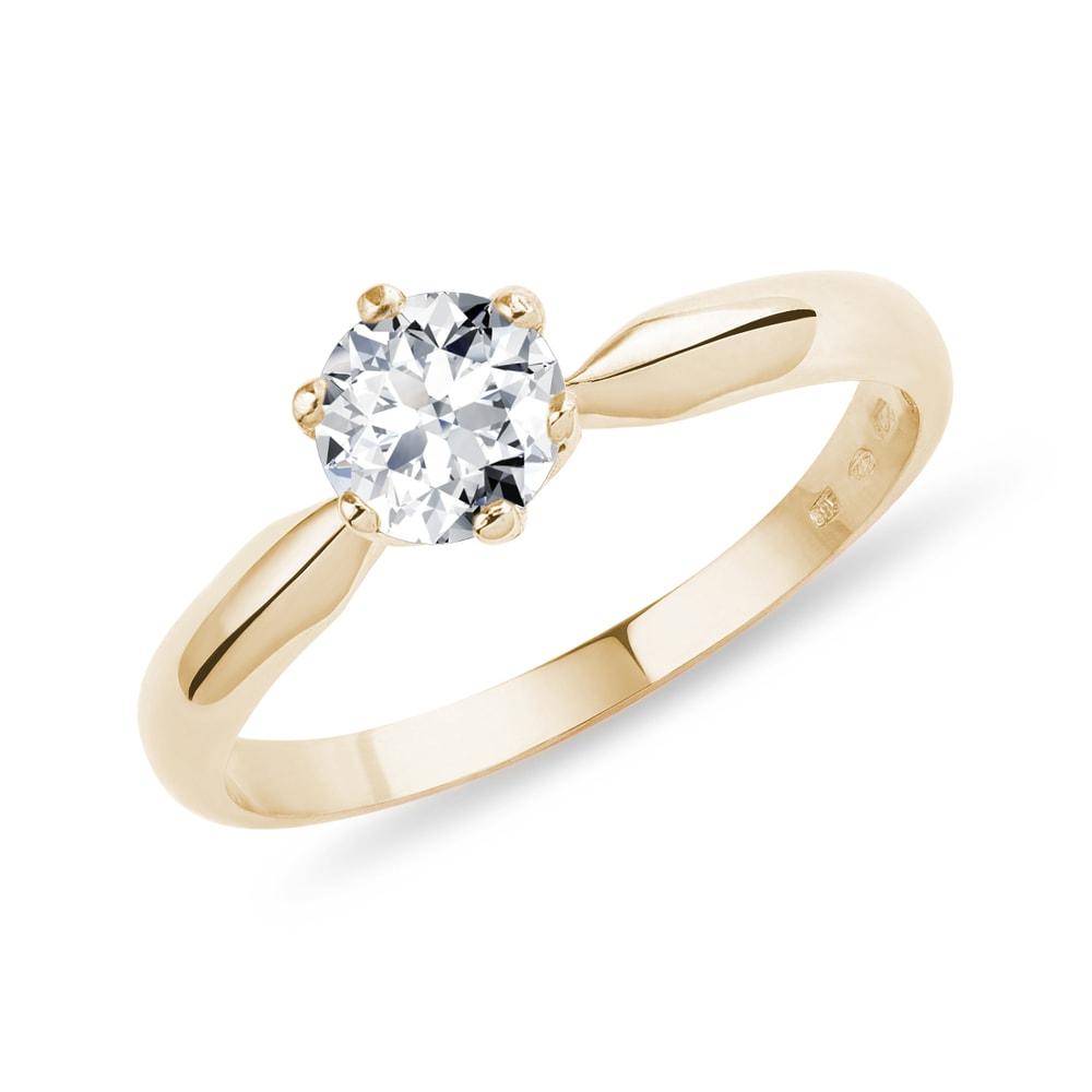 Briliantový zásnubní prsten ze žlutého zlata KLENOTA