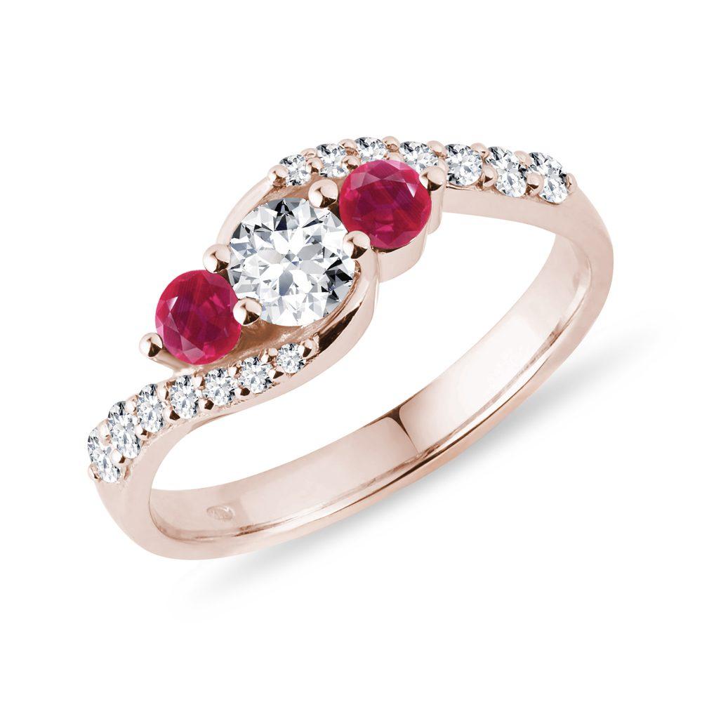 Diamantový prsten s rubíny v růžovém zlatě KLENOTA