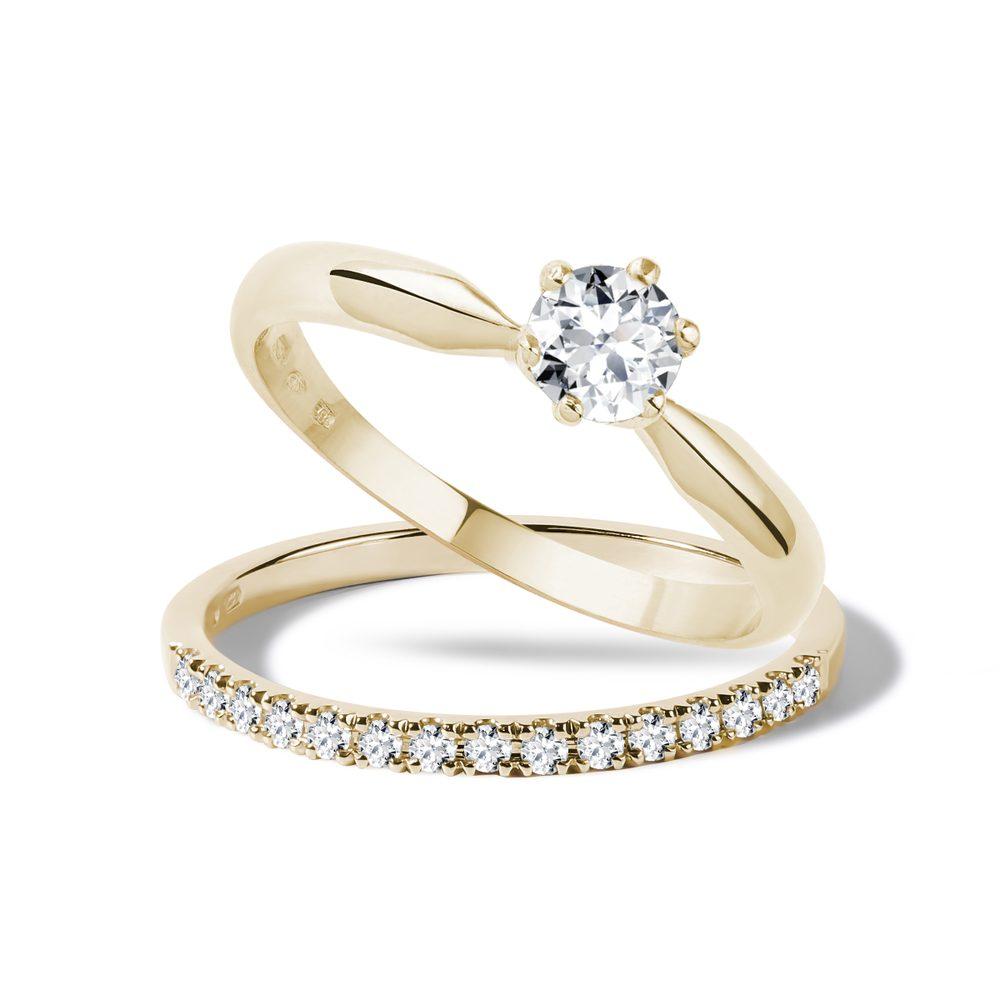 Diamantový zásnubní set ze žlutého zlata KLENOTA
