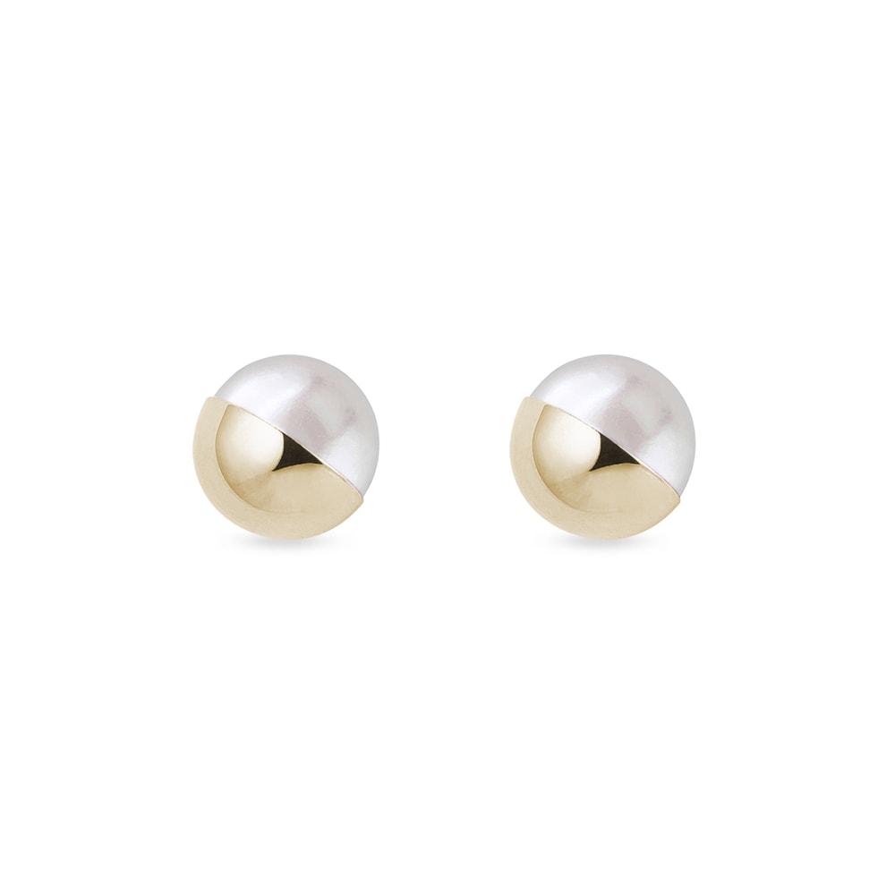 Zlaté perlové náušnice KLENOTA
