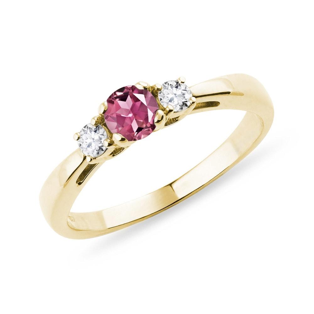 Zlatý prsten s turmalínem a brilianty KLENOTA