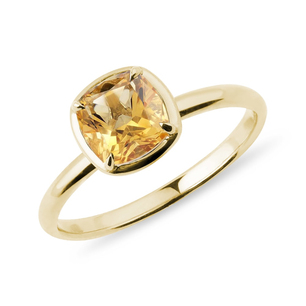 E-shop Zlatý prsten s citrínem v brusu cushion