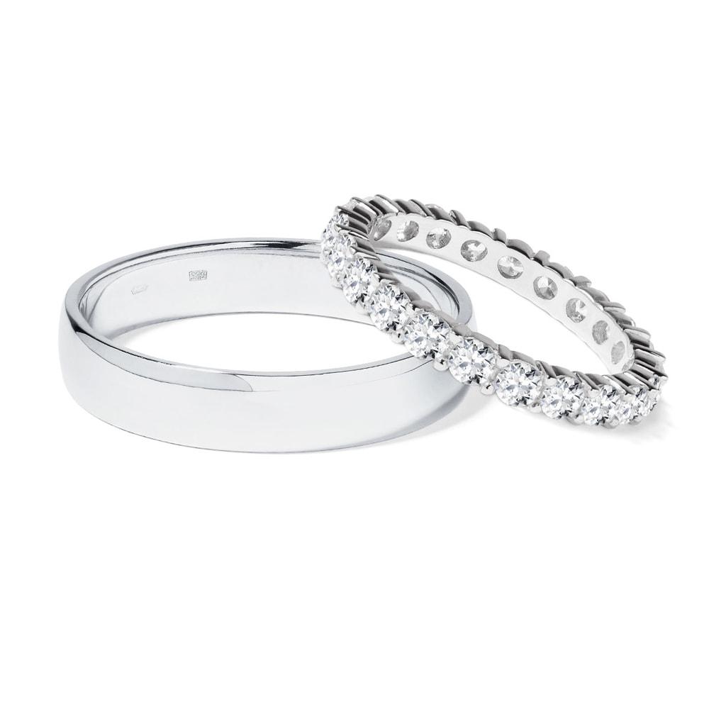 Briliantové snubní prsteny v bílém zlatě KLENOTA