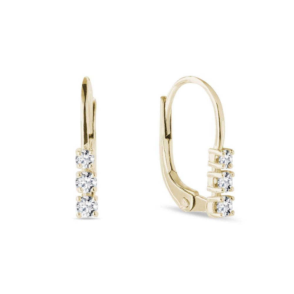 Diamantové náušnice ze žlutého zlata KLENOTA