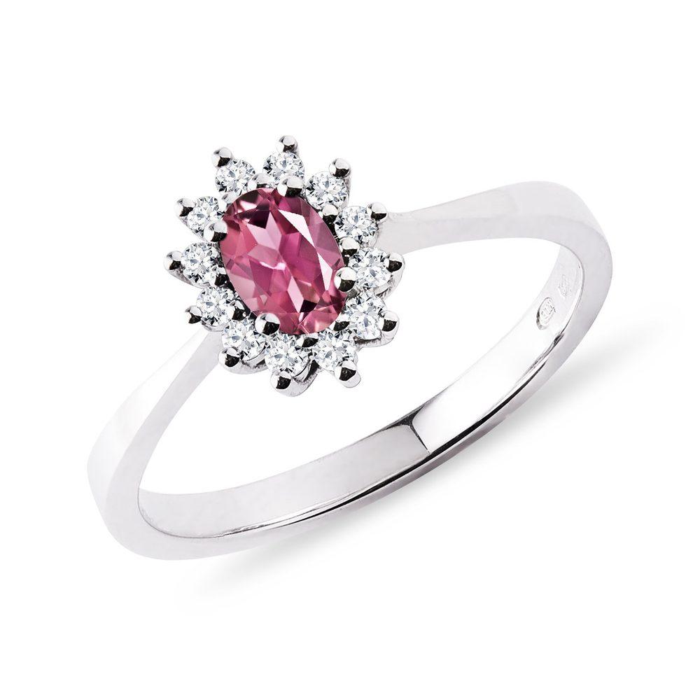 Prsten s oválným turmalínem a brilianty v bílém zlatě KLENOTA