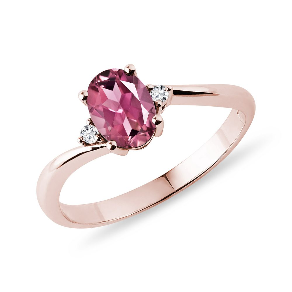 Prsten s oválným turmalínem v růžovém zlatě KLENOTA