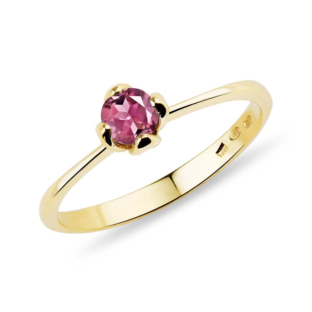 Zlatý prsten s kulatým turmalínem KLENOTA