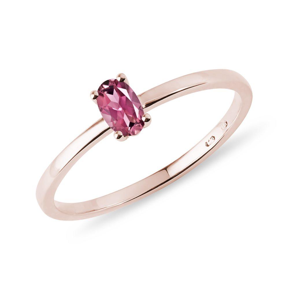 Minimalistický prsten s turmalínem v růžovém zlatě KLENOTA