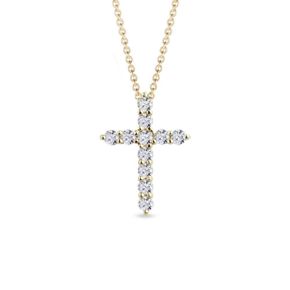 Diamantový přívěsek křížek ve žlutém zlatě KLENOTA