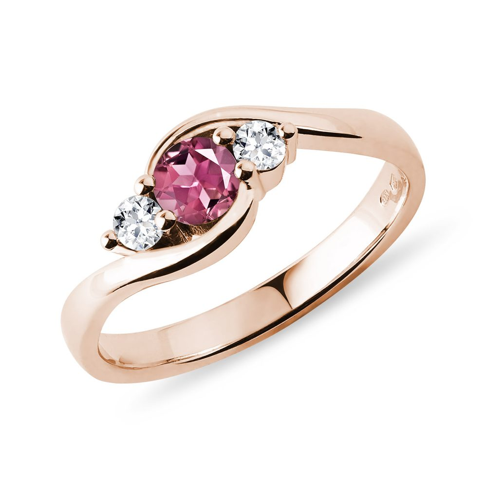 Zlatý prsten s turmalínem a diamanty KLENOTA