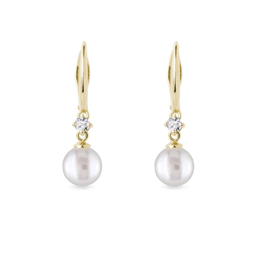 Zlaté náušnice s perlou a diamanty KLENOTA