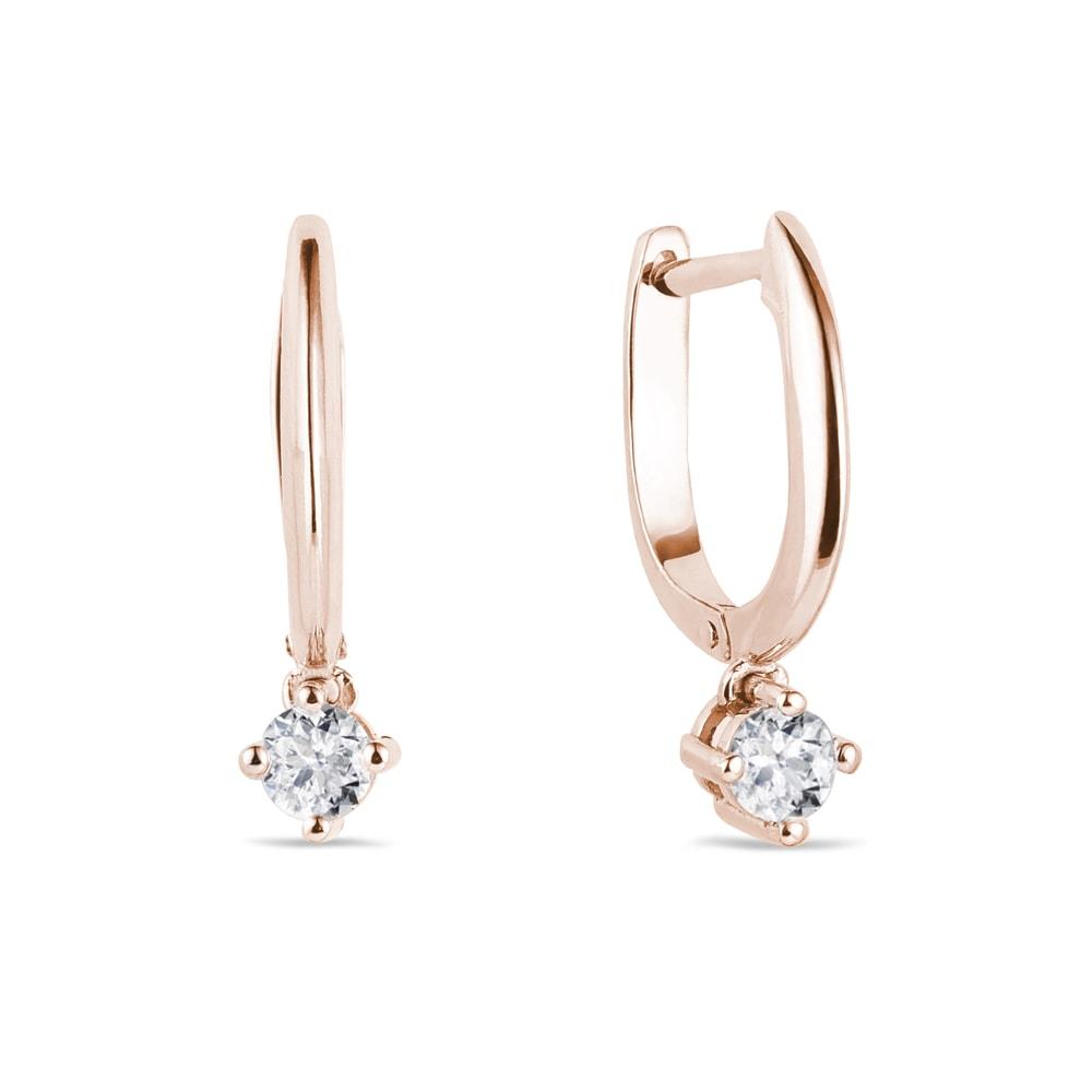 Náušnice kruhy z růžového zlata s diamantem KLENOTA