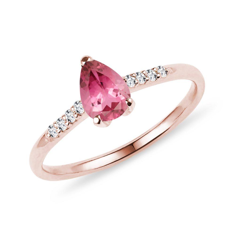 Prsten s růžovým turmalínem a brilianty v růžovém zlatě KLENOTA