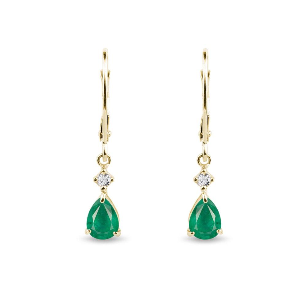 Zlaté visací náušnice se smaragdy a diamanty KLENOTA
