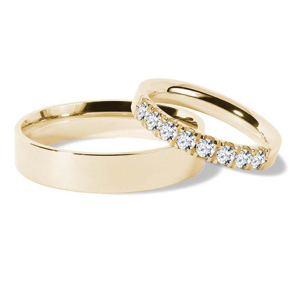 Zlaté snubní prsteny s brilianty KLENOTA
