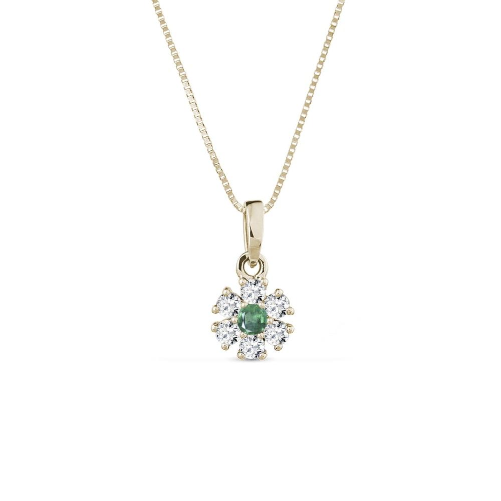 E-shop Náhrdelník ve žlutém zlatě s diamanty a smaragdem